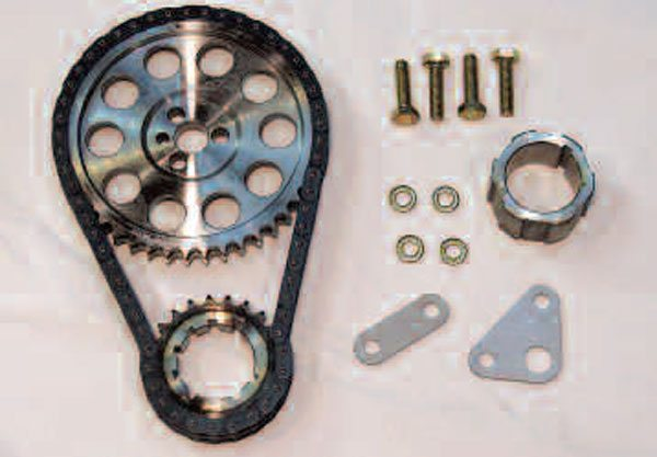 So-called double-roller timing sets are available for increased strength and reduced chain stretch over time. This one is sold by SLP and includes a spacer kit to move the oil pump forward and provide clearance for the increased chain width, and it's also adjustable for several different settings of cam advance and retard. (Other chain kits are available from SLP that include the appropriate lands and grooves for Gen IV cam sensor compatibility.)