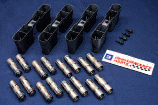 Of course, just because an item can be reused doesn't mean it should be reused. The needle bearings inside the LS's hydraulic roller lifters will eventually wear out, so it's not a bad idea to pick up a set of new lifters like these from GMPP. You should also replace the lifter guide trays, as these items lose their tension on the lifters over time. They are what holds the lifters up during a heads-on cam swap. (Do you feel like dropping the oil pan to grab a fallen lifter? This is just one example of where you need to think ahead to possible service and/or performance upgrade scenarios down the road!) Be sure to get the correct trays for your engine, as their shape can vary slightly.