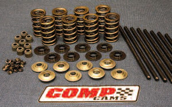 Very aggressive cams will require valvespring pressures that only a double spring design can supply. These are sold by COMP and shown accompanied by lightweight titanium retainers, spring seats and valve seals (these are a separate design), and locks along with chromemoly pushrods. Shop around, and you can find upgraded valvetrain parts packaged as a kit—nearly everything pictured can be bought together, making component matching easier.