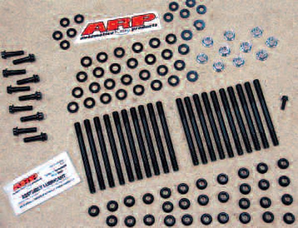 Here's an ARP main stud kit, which replaces the twenty M10 main bolts of Gen III and IV engines with studs good to 190,000-psi tensile strength. Studs also afford more precise clamping, as unlike bolts, they do not twist themselves further into the block while being tightened (the friction of which can throw off readings, particularly if you're only relying on a torque specification for tightening). They're also easier on the block threads.