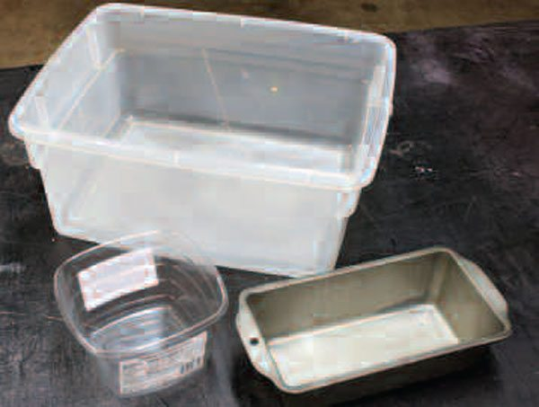 Have an assortment of large, medium, and small wash containers ready at hand. Some engine parts (like cams and cranks) are large enough that they will not fit into most household ones, but you can at least (carefully!) stand them up in a large container and let it catch the drippings while you clean.