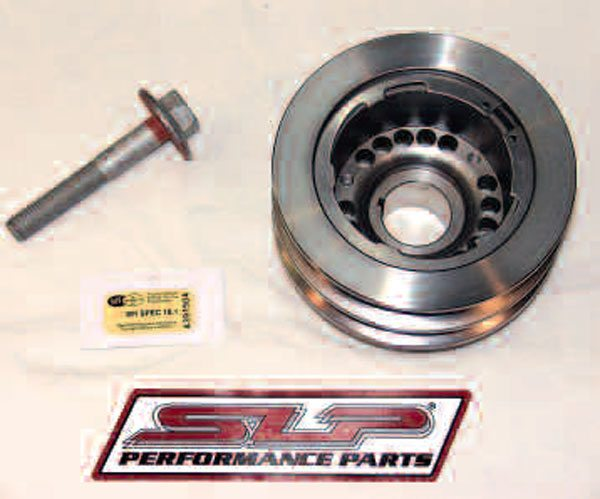 Here's yet another reason to step up to an aftermarket harmonic damper on high-performance applications: LS dampers also serve as the crank pulley, meaning underdrive of accessories is impossible without swapping the entire unit. This SLP damper is smaller in diameter and so reduces the speed of engine accessories by 25 percent, freeing up horsepower. Aside from this, it's also SFI-certified for you racers out there.