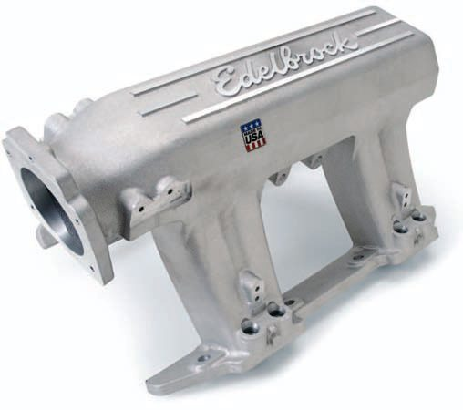 Whereas every other Edelbrock intake has a very small plenum, the Pro-Flo XT was created for a more broad torque band up to its 7,000-rpm limit. This intake appeals to the street car crowd, though its height makes some applications difficult. With some cutting of the cowl and hood it actually fits in a Gen IV F-Body (reference dimensions available online). Edel-brock says in its testing that it exceeded the LS6 intake by 30 hp at 6,500 rpm. Versions are available for cathedral and LS3 port.