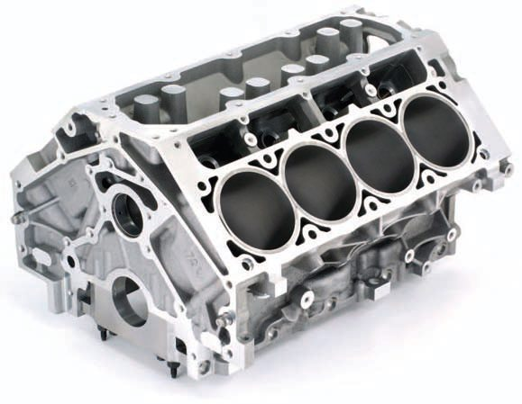 This is the mighty LS7, the first factory aluminum 427 block since the ZL1. Unlike its big-block cousin, the small-block's 4.400-inch bore spacing makes the cylinders particularly thin. A massive, by today's standards, 4.125-inch Siamese bore is an OEM version of the C5R. Provisions for dry-sump lubrication and improved casting and machining methods make this block a formidable competitor, though not ideal for forced induction.
