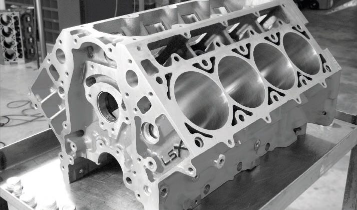 Most significantly, the LSX block includes two additional head-bolt locations per cylinder (for a total of six) that greatly enhance clamping strength to prevent head-gasket blowouts under high boost. Street/ strip engines with up to about 15 to 19 pounds of boost will likely survive with conventional, four-bolt blocks, but if the engine is projected to use 20 pounds (or more) of boost, a six-bolt block is highly recommended. A second-generation LSX block was introduced in 2009 that offered several design and machining improvements, but retains the original PN. A first generation block is shown here.