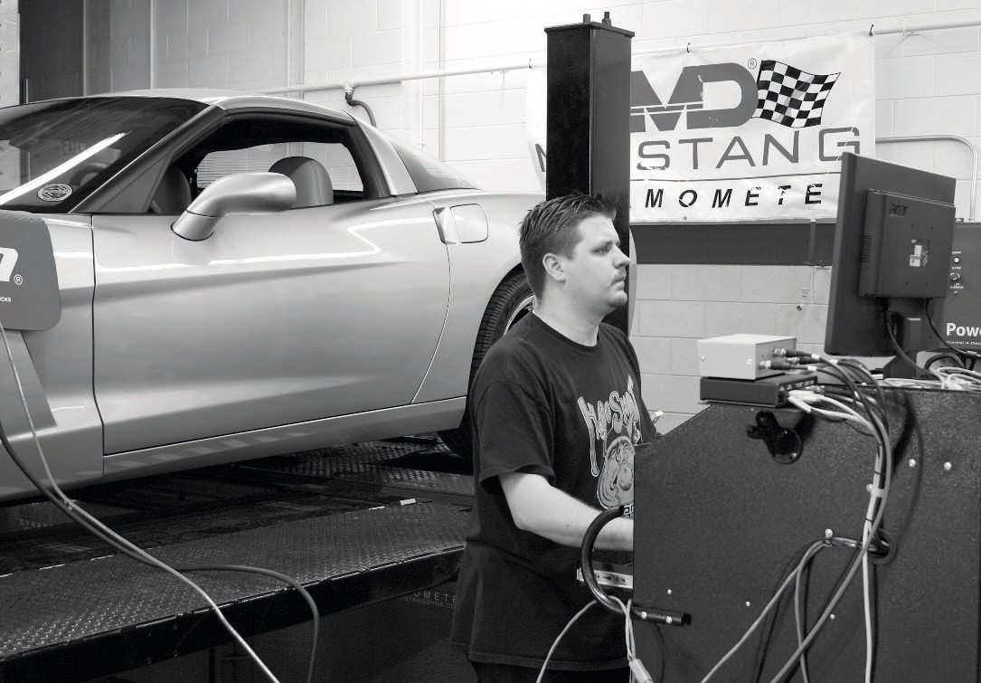 "After a ""pull"" on the chassis dyno, the technician notes the recorded horsepower and torque measurements at the rear wheels and compares them with the baseline numbers that were recorded prior to the installation of the supercharger or turbo system. The graphs generated by the dyno pull not only point out the peak power numbers, but graph them in RPM increments, showing where in the rev range the power increases are most effective. If the vehicle is equipped with wideband oxygen sensors, air/fuel ratio measurements are also compared."