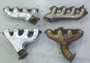 The first-year exhaust manifolds for the LS1 (right) were made of two thin-walled stampings welded together to maximize the temperature going to the catalytic converters. In 1998, GM introduced a cast-iron manifold (left) that still met the startup emissions requirements but reduced the piece cost.
