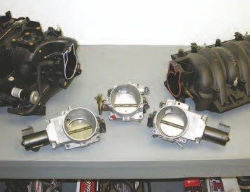 GM is slowly going to all ETC, like the LQ9 (left) and LS6 (right) shown, so hopefully it won't be long before an aftermarket company comes up with an ETC throttle pedal for hot rods. This way, automotive enthusiasts won't have to keep retrofitting back to cable throttle bodies (like the LQ4 unit shown in the middle)