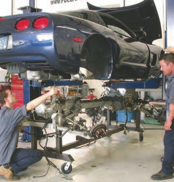 Pulling an engine from a C5 Corvette requires the entire drivetrain to come out. Check out this photo sequence if you want to see how it's done.