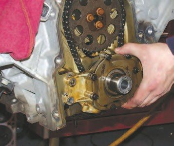 17. The Gen III has its oil pump driven off the front of the crankshaft, which becomes obvious after the cam cover/water pump front cover is removed. Taking the four 8-mmdiameter, 10-mm hex-head bolts off frees the oil pump for rework. Reinstalling the oil pump requires centering the bare oil pump body on the crank. This is done by installing four bolts to 45 in-lbs and centering the pump with two 0.002-inch feeler gauges.