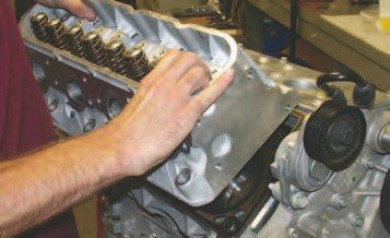 1. The CNC-ported cylinder heads are installed using a stock-type Cometic sandwich gasket that has three thin pieces of stainless covered by a sealing material. Depending on the compression ratio they need to achieve, W2W uses everything from the stock 0.057-inch-thick stock gasket, down to a 0.040-inch-thick gasket to get the compression ratio up to 12:1 on the race engines they build. W2W likes to use the Cometic gasket, as it has proven to be extremely durable under severe conditions.