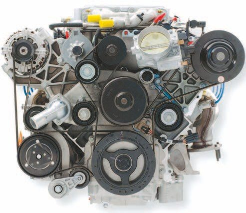 This is a front view of the LS9 drive kit. The alternator and A/C pump are run off a separate belt. This is a complicated piece of automotive art. The A/C pump doesn't clear the lower frame support on an F-Body and requires the front frame to be notched. (Photo Courtesy General Motors)