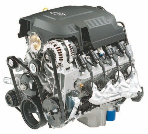 A 2011 5.3L Vortec engine has the same basic shape as every other LS engine, but the intake, oil pan, and accessory drive are the main differences. The intake is usually taller and flows less efficiently than some of the car versions. (Photo Courtesy General Motors)