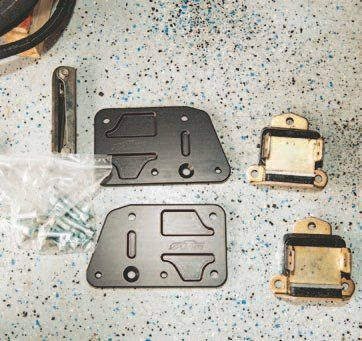 An engine mount kit typically includes the mount plates, brakes, fasteners, and related hardware.