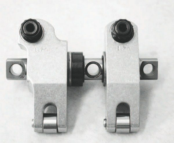 Although there are several choices for roller-tip rocker arms for the conventional rocker arms of LS cathedralport heads, there are only a couple options when it comes to upgrading rectangular-port heads with offset rockers. T&D Machine Products offers these 1.7:1-ratio, shaft-mount rollertip rockers for rectangular-port heads.