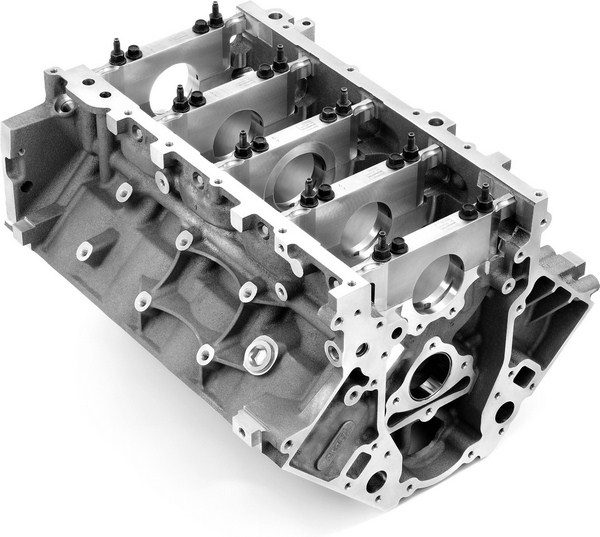 LS blocks utilize a deep-skirt design in which the sides of the block extend all the way to the bottom of the main caps. Four bolts secure each main cap to the bulkheads, and two additional cross bolts secure each one to the side of the block. This design is extremely durable, and stock aluminum blocks have proven to be reliable up to 700 hp. (© GM Corp.)