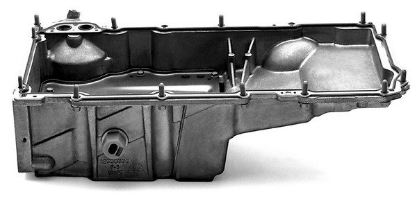The LS small-block's castaluminum oil pan isn't just an oil container. It serves as a stressed member of the block that helps reduce noise and vibration. Like the rest of the block, it features structural strengthening ribs on the inside and outside of the oil pan. (© GM Corp.)