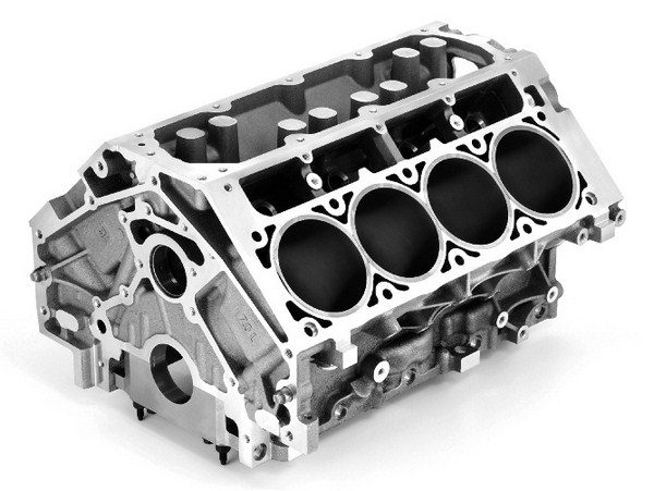 Thanks to the LS7's capacious 4.125- inch bore, GM was able to fit the engine with monstrous 2.200-inch intake valves. That large bore comes at the expense of cylinder wall thickness, so if plans call for re-sleeving a factory aluminum block, the LS2 casting is a more affordable alternative. (© GM Corp.)