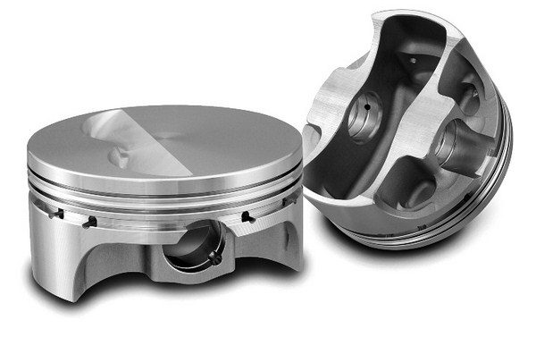 The two most commonly used alloys in aftermarket forged pistons are 2618 and 4032. Although 2618 is stronger at all temperatures, 4032 has a greater silicon content, which reduces its thermal expansion. This allows for a tighter fit inside the bore and reduced blow-by. These SRP 4032 pistons are a great choice for a naturally aspirated street motor that only sees occasional track use.