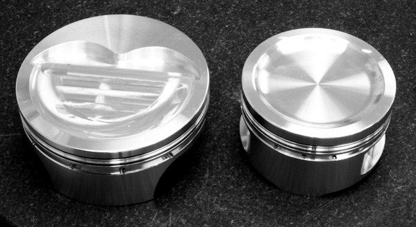 The D-shaped recess of an inverted-dome (left) piston features a flat quench pad that helps create turbulence inside the combustion chamber and homogenizes the air/fuel mixture. With a concave-dish (right) piston, this perk is entirely eliminated. (Photo courtesy of JE Pistons)