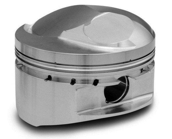 Domed pistons protrude past the block deck to increase the compression ratio. With the high static compression that's possible with today's big-bore, longstroke, small-chamber stroker combos, domed pistons are reserved strictly for race-gas-burning competition engines.