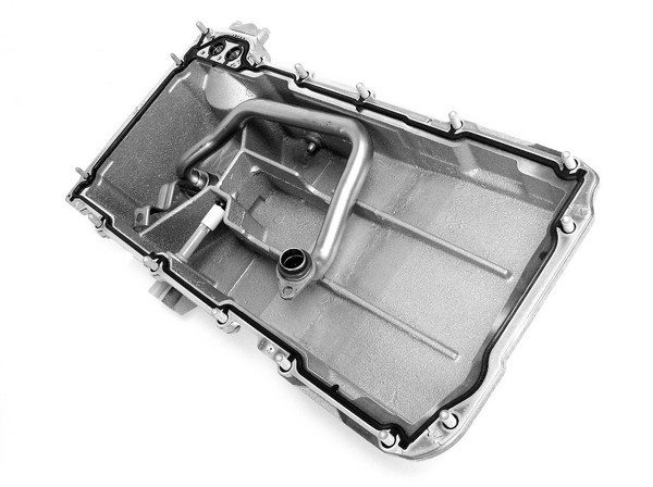 Factory GM oil pans are just as impressive on the inside as they are on the outside. They utilize internal strengthening ribs, which double as oil control baffles to prevent oil from sloshing around under cornering loads. (© GM Corp.)