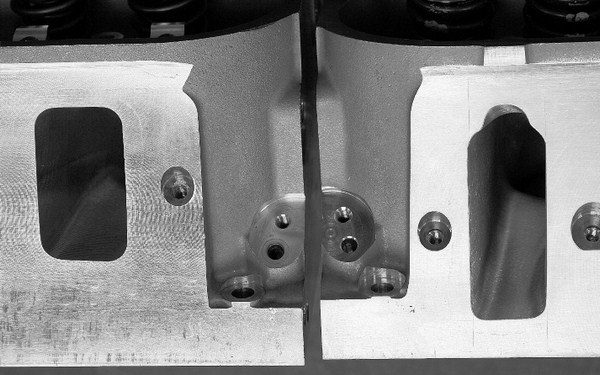 Compared to the LS-series small-block's original cathedral ports, the rectangle ports used on LS7- and L92-style heads are much shorter and wider. As a result, GM was able to raise the intake port entrance for dramatic improvements in high-lift airflow.