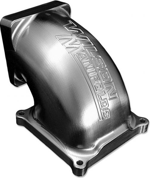When converting a single-plane intake for EFI duty, there are two options for mounting a throttle body. Companies, such as FAST and Wilson Manifolds, offer carb-style throttle bodies that mount directly to the carb pad. Wilson also offers 90- and 100-degree elbow adapters that mount to the carb pad. This allows for the attachment of a conventional forwardfacing EFI throttle body, which is often necessary for hood clearance concerns.