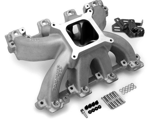 As a company famous for its diverse range of intake manifolds, it's hardly surprising that Edelbrock offers a full line of dual- and single-plane LS-style intake manifolds, as well as EFI intakes. Edelbrock's Super Victor intake manifolds are famous for their high-RPM breathing capabilities. (Photo courtesy of Edelbrock)